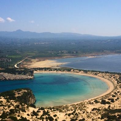View of Vodokilia Beach from the top of the Paleokastro (Messinia, Peloponnese, Greece)