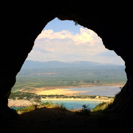 View of Vodokilia and Messenia from inside Nestor's Cave (2016)